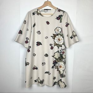 Zara floral white tee dress